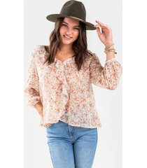 andrea floral ruffle blouse - pink
