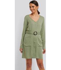 na-kd belted long sleeve dress - green