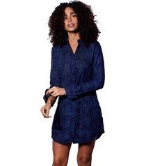 blue flower embroidered linen shirt dress