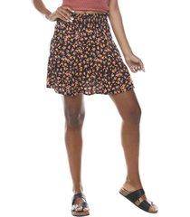 mini falda escalonada negro flores  corona