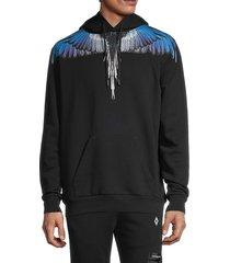 marcelo burlon men's wings graphic hoodie - black blue - size m