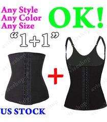 lots of 2 underbust waist cincher vest trainer girdle control chaleco shaper #16