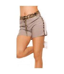 trendy shorts met contrast strepen grijs