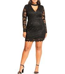 plus size women's city chic roxy cutout v-neck long sleeve lace dress