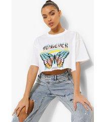 kort forever vlinder t-shirt met onbewerkte zoom, white