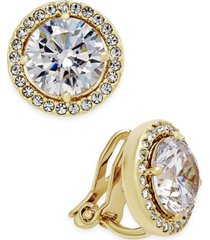 eliot danori gold-tone bezel-set crystal clip-on earrings, created for macy's