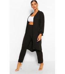 maxi duster jas & wide leg broek set