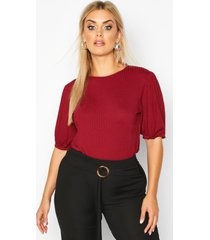 plus jumbo rib puff shoulder top, wine