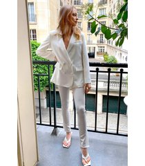 womens home office tailored slit pants - white
