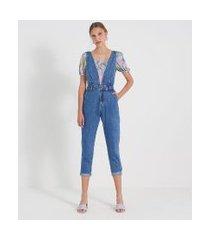 macacão mom jeans liso com decote v e pregas | blue steel | azul | 34