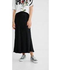 textured motif midi skirt - black - l