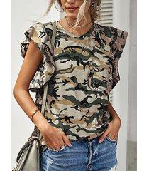 camicetta manica corta con tasca a volant con scollo a o con stampa leopardata mimetica