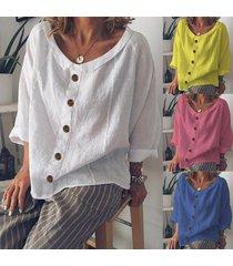 blusa suelta de algodón botón de lino de algodón sólido o-cuello-blanco