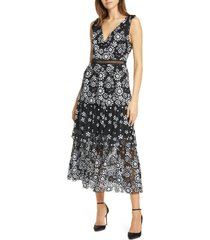 women's self-portrait floral deco sequin tiered midi dress