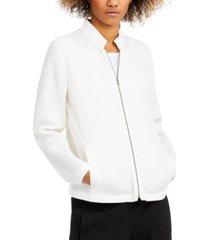 eileen fisher textured stand-collar zip jacket