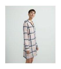 camisola americana em viscolycra estampa xadrez | lov | rosa | p