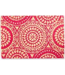 capacho em fibra de coco mandalas 40x60cm vermelho