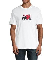 french connection men's pixel motorbike t-shirt - linen white - size xl
