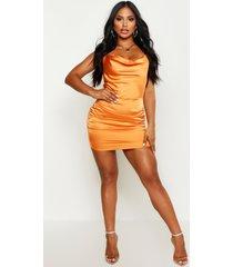 satijnen florence bodycon jurk met waterval hals, oranje