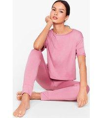 womens back where tee belong jogger pajama set - rose