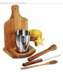 kit caipirinha com tabua em bambu e copo inox 6 peças welf