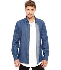 camisa only & sons basic denim azul - calce slim fit