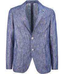 lardini dark blue cotton-linen blend blazer