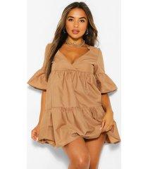 petite tiered frill sleeve smock dress, camel
