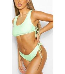 mix & match tie detail bikini brief, green