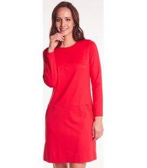 czerwona sukienka z przeszyciami mabel