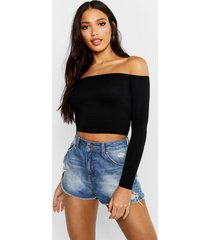 basic long sleeve bardot crop top, black