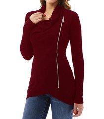 zanzea placas radiantes de la cremallera larga camiseta de cuello asimétrico mujer de manga larga blusa de vino tinto -rojo