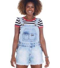 jardineira jeans barra desfiada feminina - feminino