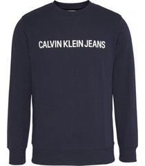 buzo azul calvin klein core institutional logo sweatshirt