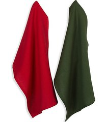 cabin christmas cotton 3-piece mitten & dish towel gift set
