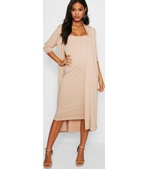 bandeau dress & duster co-ord set, stone