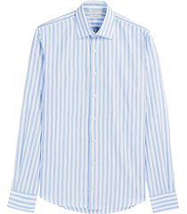 suitsupply classic fit stripe dress shirt, size 15.5r in light blue at nordstrom