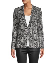alice + olivia by stacey bendet women's snake-print cotton-blend blazer - black multi - size 0