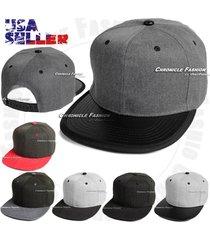 baseball cap flat bill adjustable hat plain solid blank snapback unisex