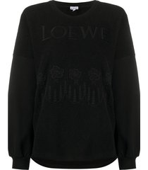 embroidered floral logo sweater black