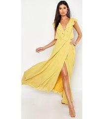 chiffon maxi bruidsmeisjes jurk met franjes en wikkel detail, geel