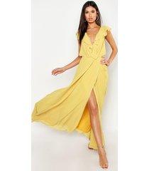 frill wrap detail chiffon maxi bridesmaid dress, yellow