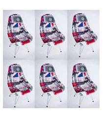 kit com 06 capas para cadeira de jantar eiffel wood londres