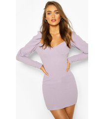 volume sleeve textured cupped mini dress, purple