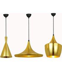 3 pendentes  alumãnio cor dourado para mesa jantar - incolor - dafiti