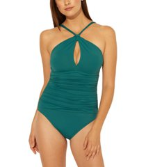 bleu by rod beattie solid halter one-piece swimsuit women's swimsuit