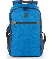 bolso maleta morral tokio con salida de audifonos bolsillos - azul claro
