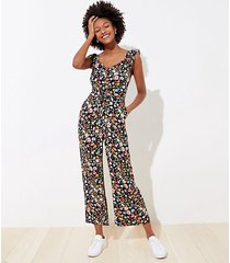 loft tall lily ruffle tie front jumpsuit