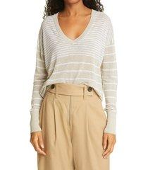 women's judith & charles poppy stripe sweater, size small - beige