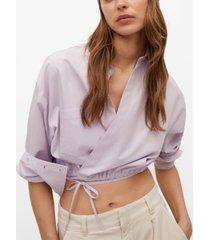 mango crossover poplin blouse